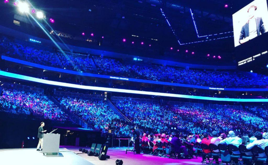 David Kellerman talking the auditorium for Microsoft Inspire