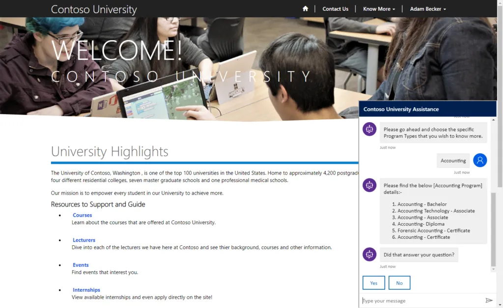 Screenshot of a university website, with the chatbot window visible