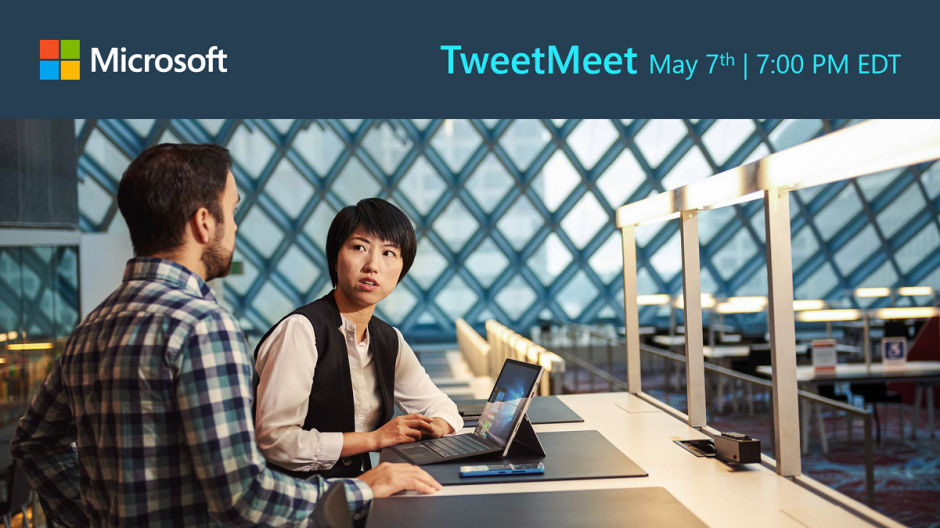 Two people work at a laptop, with the headline TweetMeet: May 7th, 7:00 PM EDT
