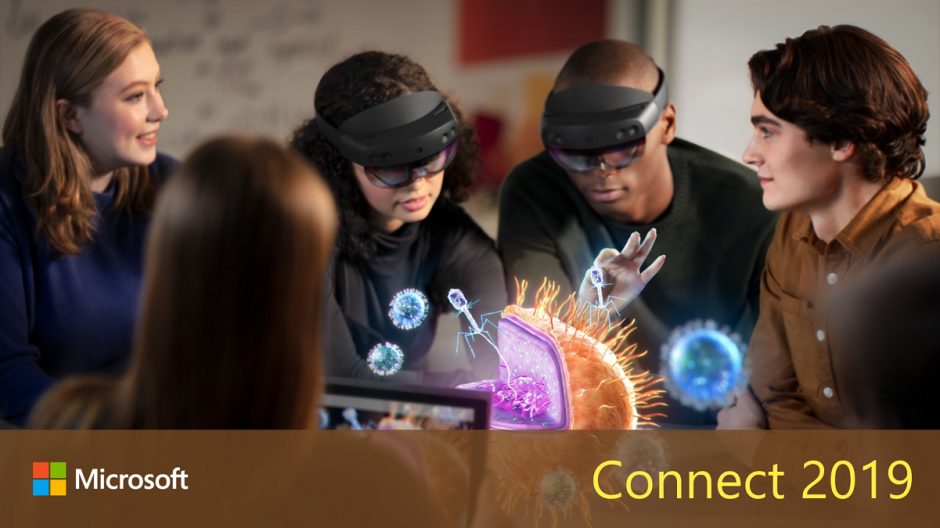 A group of students work around a hologram, with the headline Connect 2019