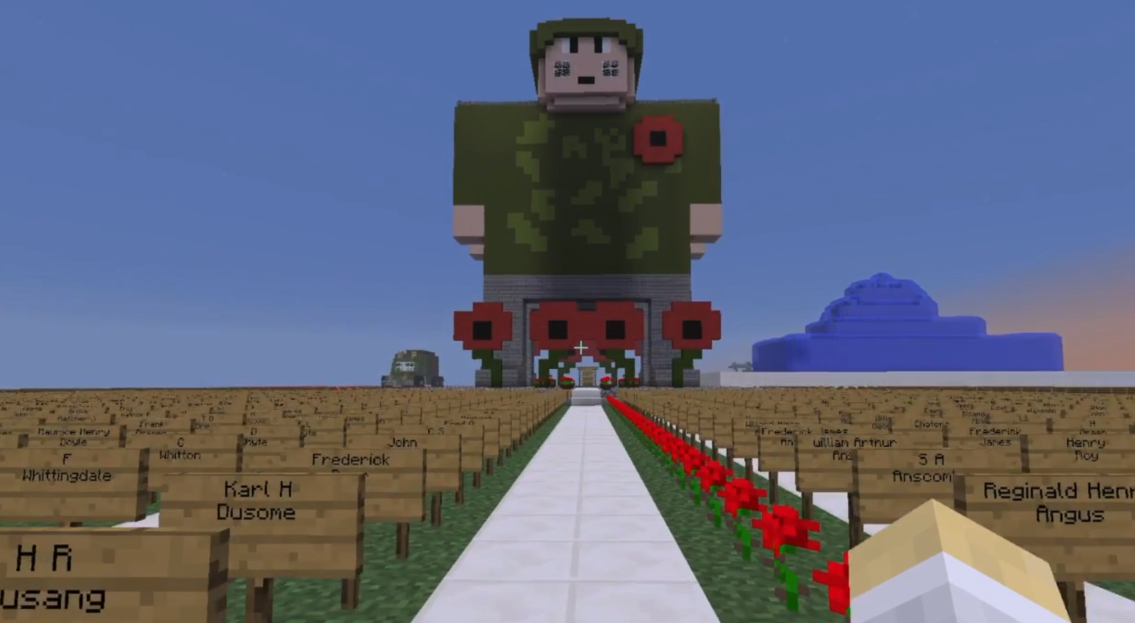 A Minecraft: Education Edition environment featuring a large statue of a soldier